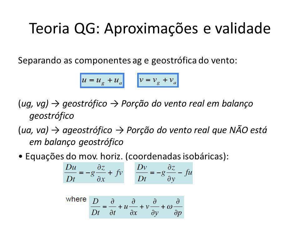 Separando as componentes ag e geostrófica do vento: (ug, vg) geostrófico Porção do vento real em balanço geostrófico (ua, va) ageostrófico Porção do vento real que NÃO está em balanço geostrófico Equações do mov.