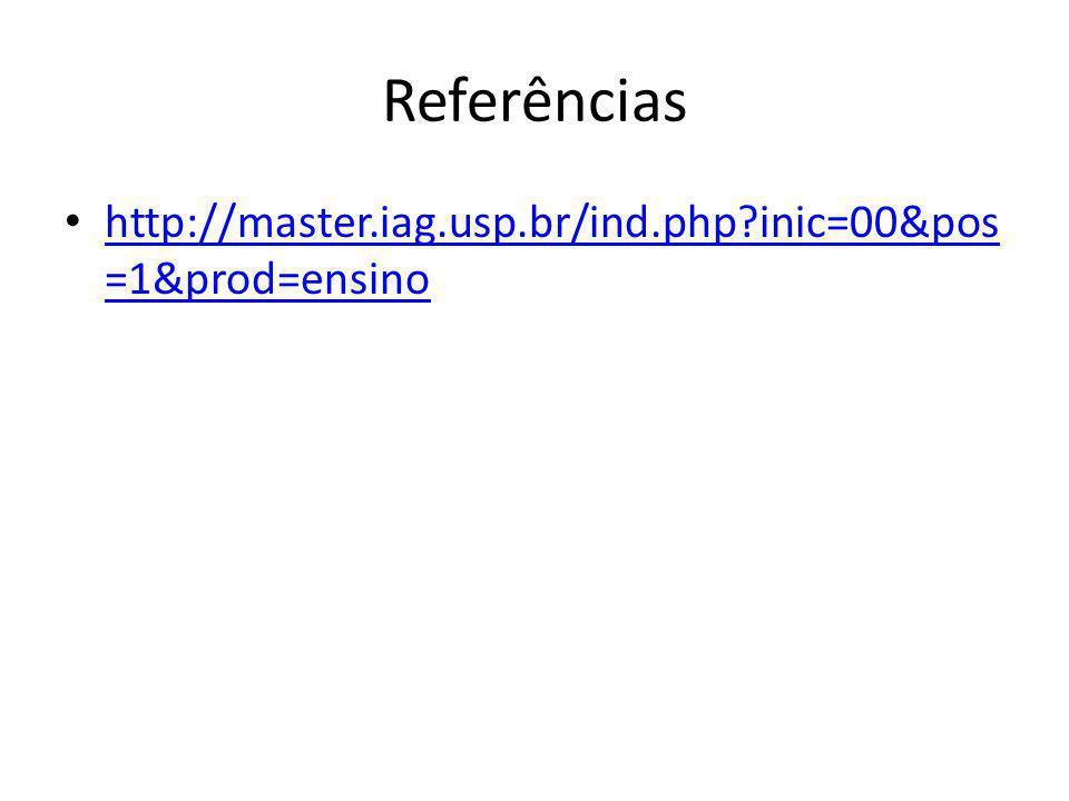 Referências http://master.iag.usp.br/ind.php?inic=00&pos =1&prod=ensino http://master.iag.usp.br/ind.php?inic=00&pos =1&prod=ensino