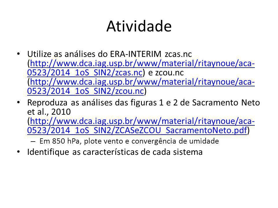 Atividade Utilize as análises do ERA-INTERIM zcas.nc (http://www.dca.iag.usp.br/www/material/ritaynoue/aca- 0523/2014_1oS_SIN2/zcas.nc) e zcou.nc (htt