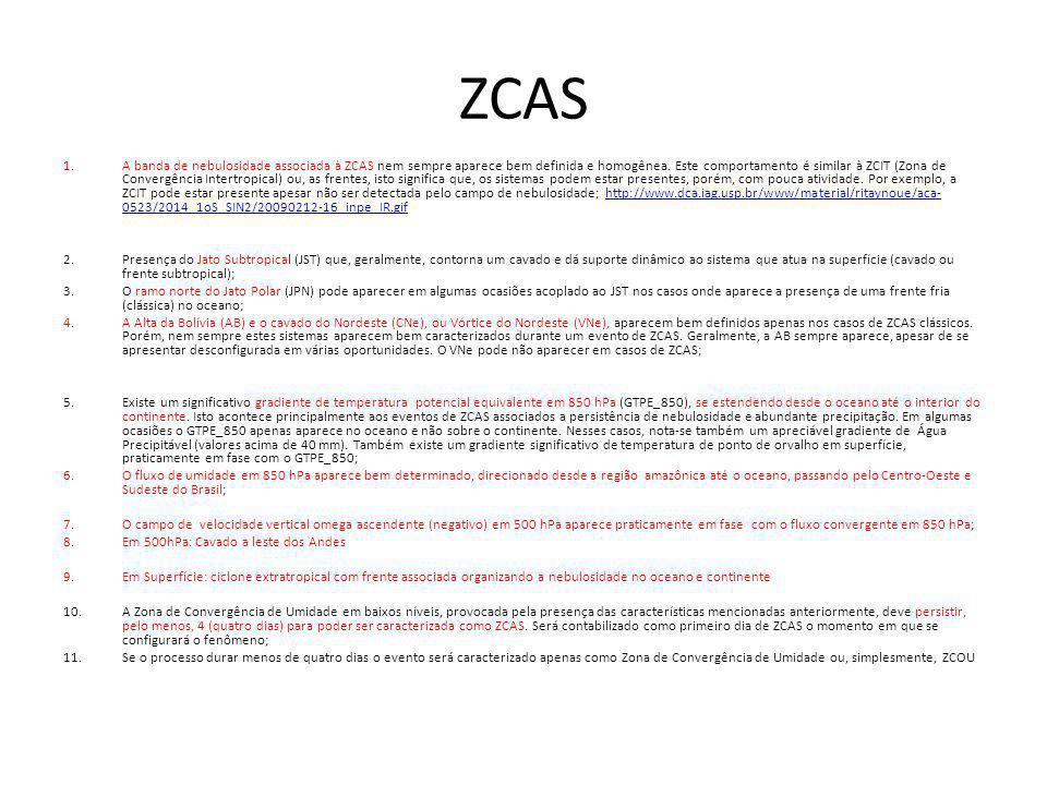 ZCAS 1.A banda de nebulosidade associada à ZCAS nem sempre aparece bem definida e homogênea. Este comportamento é similar à ZCIT (Zona de Convergência