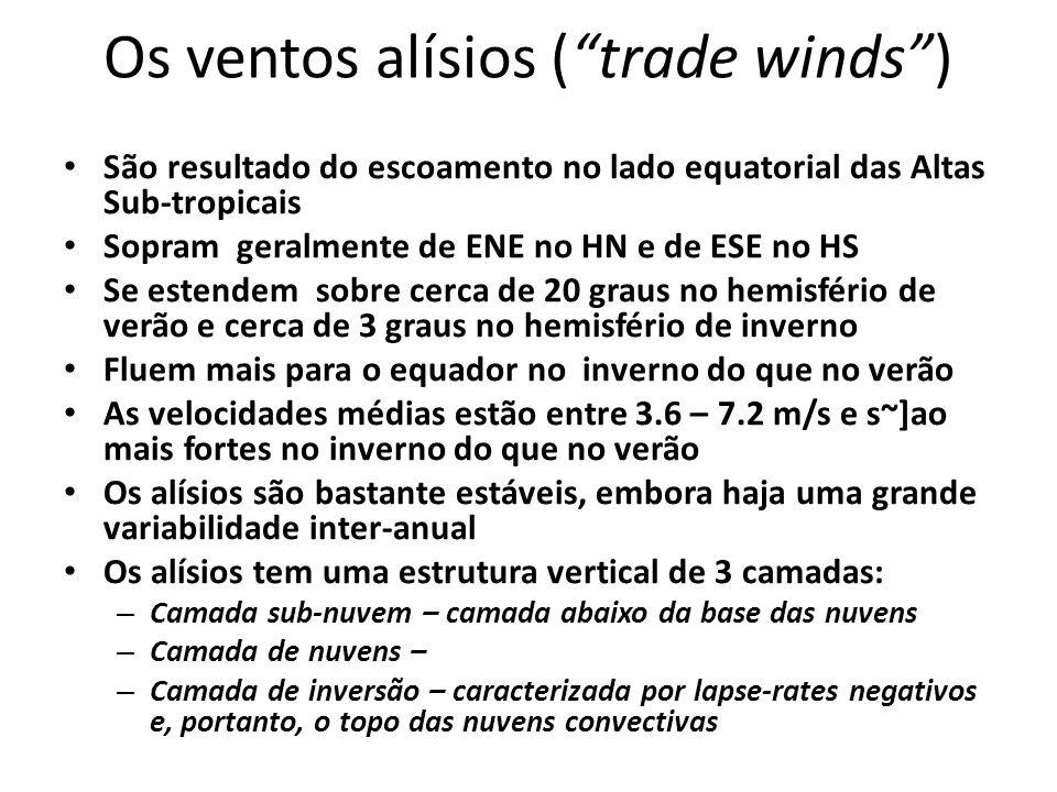 Os ventos alísios (trade winds) São resultado do escoamento no lado equatorial das Altas Sub-tropicais Sopram geralmente de ENE no HN e de ESE no HS Se estendem sobre cerca de 20 graus no hemisfério de verão e cerca de 3 graus no hemisfério de inverno Fluem mais para o equador no inverno do que no verão As velocidades médias estão entre 3.6 – 7.2 m/s e s~]ao mais fortes no inverno do que no verão Os alísios são bastante estáveis, embora haja uma grande variabilidade inter-anual Os alísios tem uma estrutura vertical de 3 camadas: – Camada sub-nuvem – camada abaixo da base das nuvens – Camada de nuvens – – Camada de inversão – caracterizada por lapse-rates negativos e, portanto, o topo das nuvens convectivas