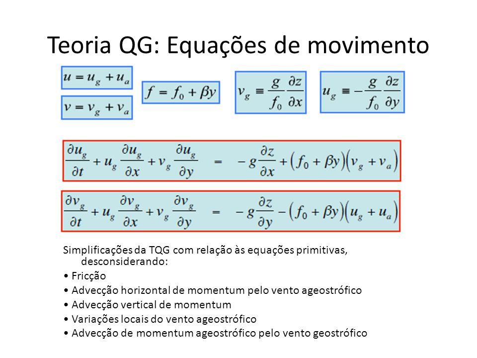 Teoria QG: Equações de movimento Simplificações da TQG com relação às equações primitivas, desconsiderando: Fricção Advecção horizontal de momentum pe