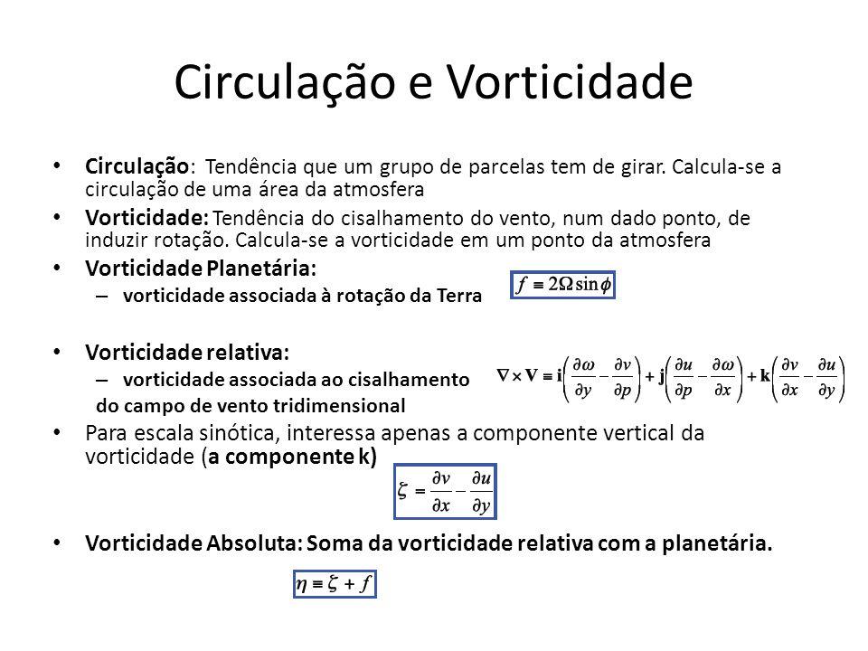 Circulação e Vorticidade Circulação : Tendência que um grupo de parcelas tem de girar. Calcula-se a circulação de uma área da atmosfera Vorticidade: T