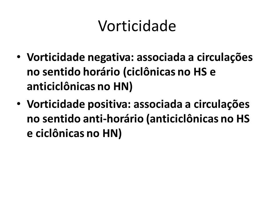 Vorticidade Vorticidade negativa: associada a circulações no sentido horário (ciclônicas no HS e anticiclônicas no HN) Vorticidade positiva: associada