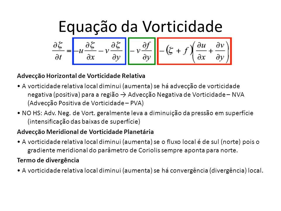 Equação da Vorticidade Advecção Horizontal de Vorticidade Relativa A vorticidade relativa local diminui (aumenta) se há advecção de vorticidade negati