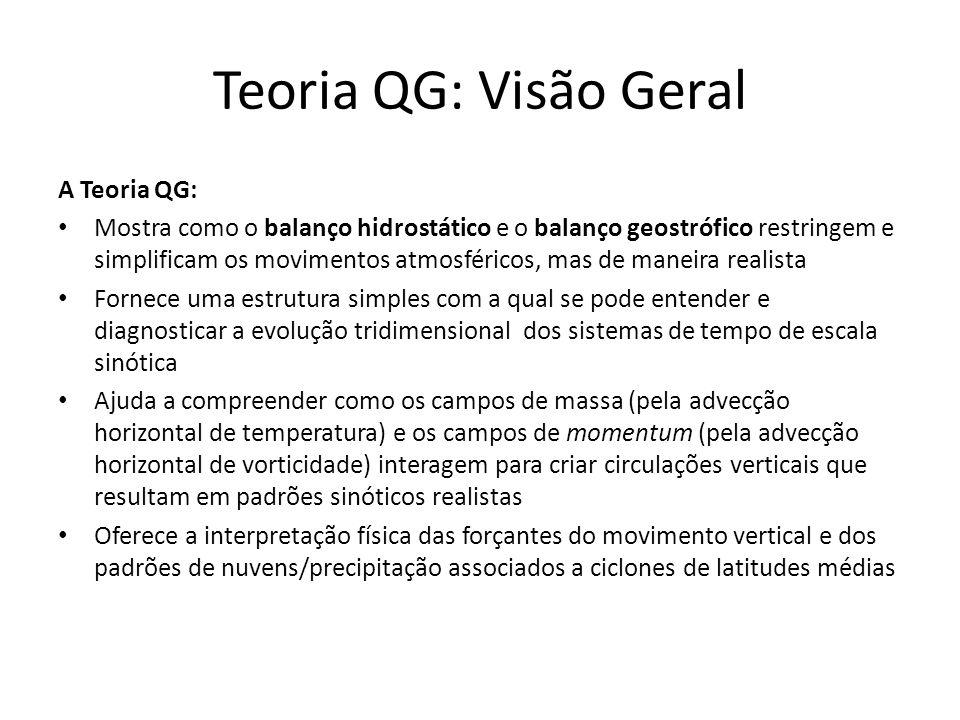 Teoria QG: Visão Geral A Teoria QG: Mostra como o balanço hidrostático e o balanço geostrófico restringem e simplificam os movimentos atmosféricos, ma