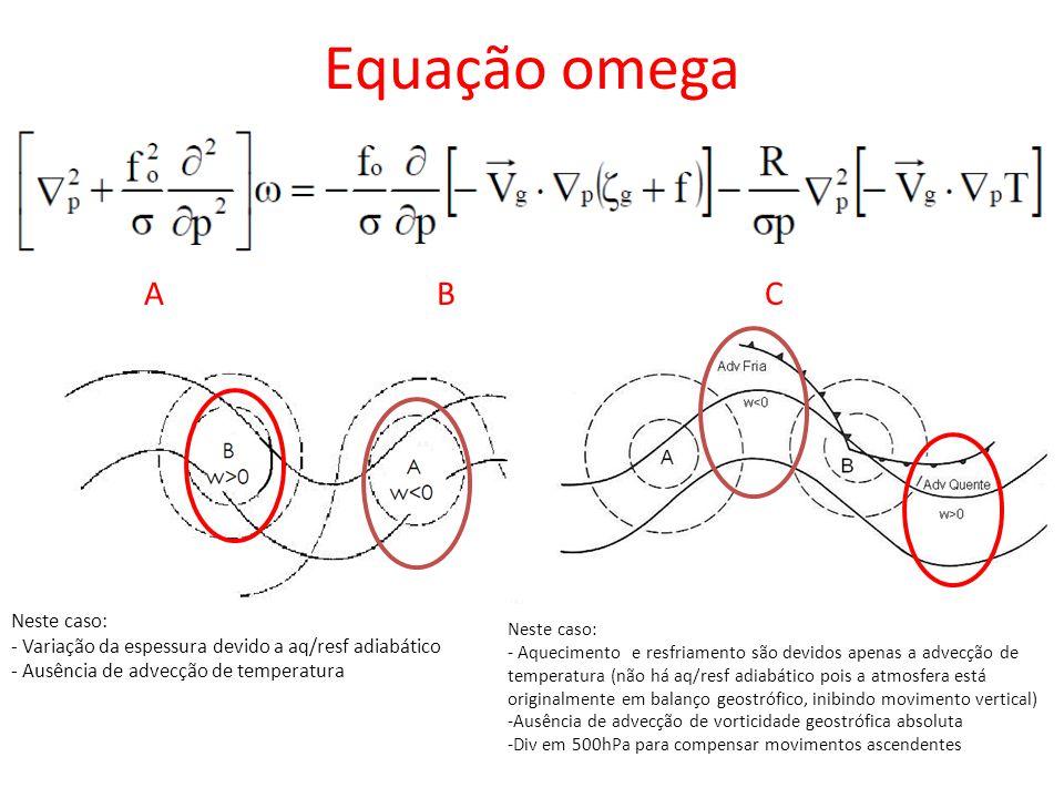Equação omega ABC Neste caso: - Variação da espessura devido a aq/resf adiabático - Ausência de advecção de temperatura Neste caso: - Aquecimento e re