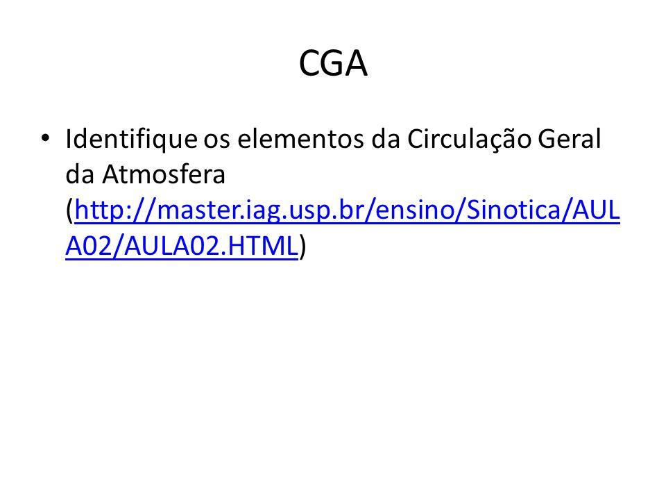CGA Identifique os elementos da Circulação Geral da Atmosfera (http://master.iag.usp.br/ensino/Sinotica/AUL A02/AULA02.HTML)http://master.iag.usp.br/ensino/Sinotica/AUL A02/AULA02.HTML