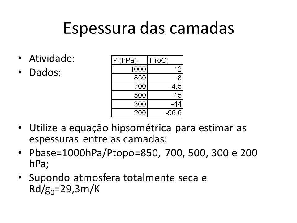 Espessura das camadas Atividade: Dados: Utilize a equação hipsométrica para estimar as espessuras entre as camadas: Pbase=1000hPa/Ptopo=850, 700, 500,