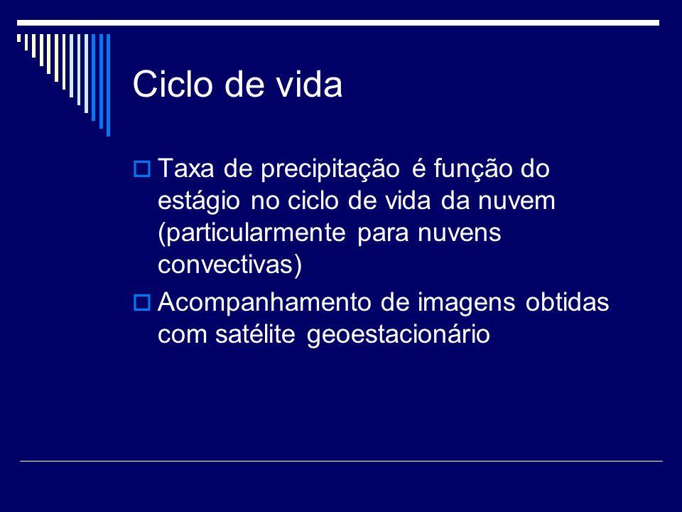 Ciclo de vida Taxa de precipitação é função do estágio no ciclo de vida da nuvem (particularmente para nuvens convectivas) Acompanhamento de imagens obtidas com satélite geoestacionário