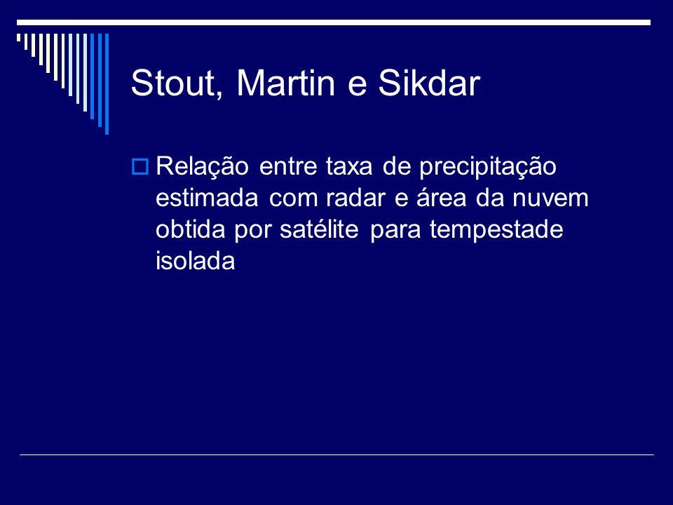 Stout, Martin e Sikdar Relação entre taxa de precipitação estimada com radar e área da nuvem obtida por satélite para tempestade isolada
