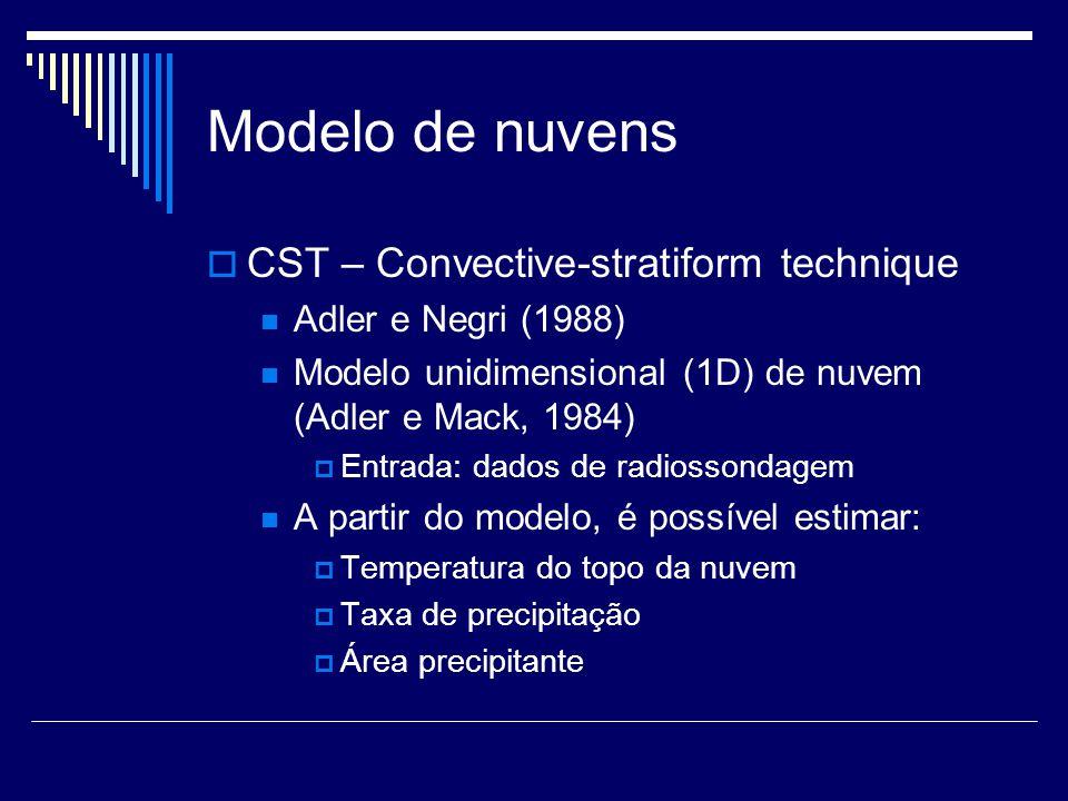 Modelo de nuvens CST – Convective-stratiform technique Adler e Negri (1988) Modelo unidimensional (1D) de nuvem (Adler e Mack, 1984) Entrada: dados de radiossondagem A partir do modelo, é possível estimar: Temperatura do topo da nuvem Taxa de precipitação Área precipitante