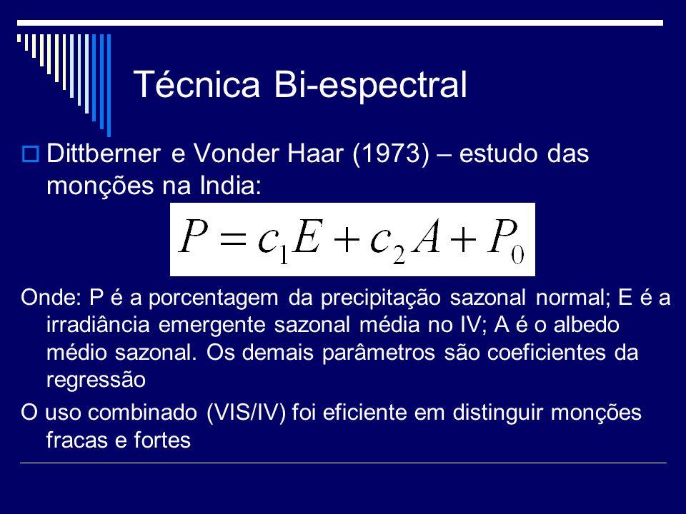 Técnica Bi-espectral Lovejoy e Austin (1979): imagens no visível e infravermelho do GOES e dados de radar sobre as regiões do Atlântico tropical e de Montreal Dois histogramas 2D de temperatura de brilho e refletância: um para pixels sem chuva e outro para pixels com chuva de acordo com as informações do radar Reconhecimento estatístico de padrão