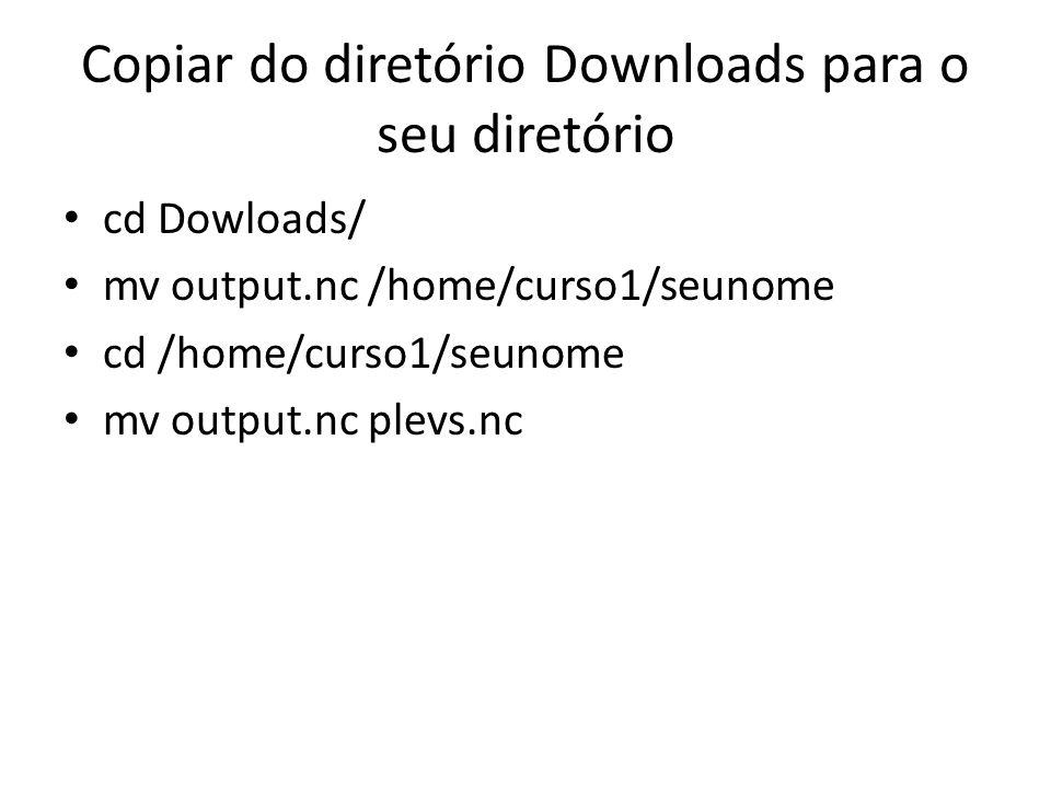 Copiar do diretório Downloads para o seu diretório cd Dowloads/ mv output.nc /home/curso1/seunome cd /home/curso1/seunome mv output.nc plevs.nc