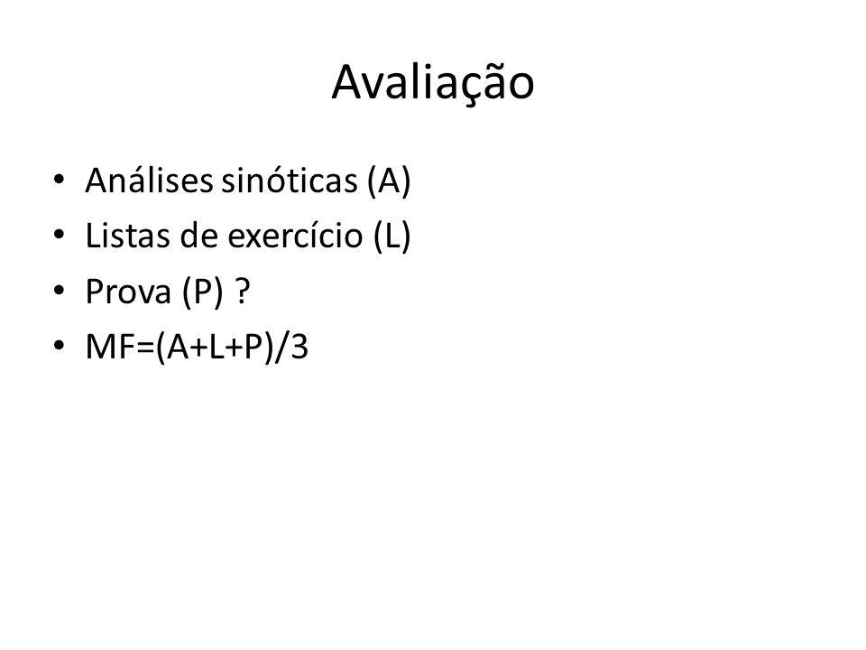 Avaliação Análises sinóticas (A) Listas de exercício (L) Prova (P) ? MF=(A+L+P)/3