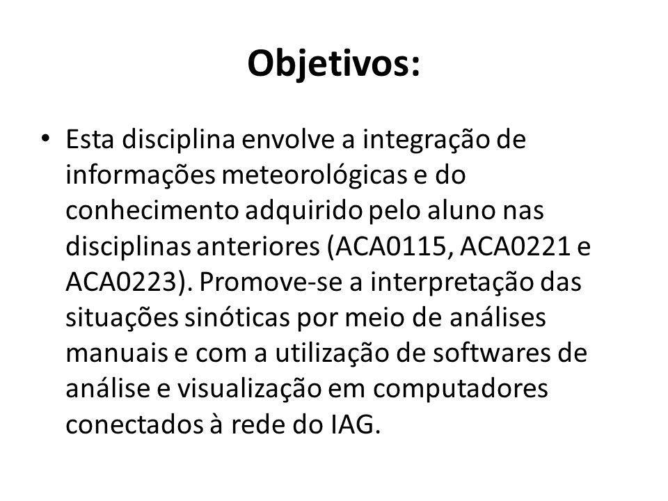 Objetivos: Esta disciplina envolve a integração de informações meteorológicas e do conhecimento adquirido pelo aluno nas disciplinas anteriores (ACA01