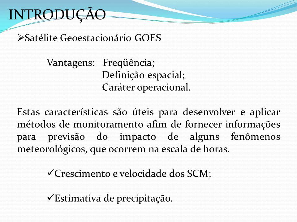 INTRODUÇÃO Satélite Geoestacionário GOES Vantagens: Freqüência; Definição espacial; Caráter operacional. Estas características são úteis para desenvol