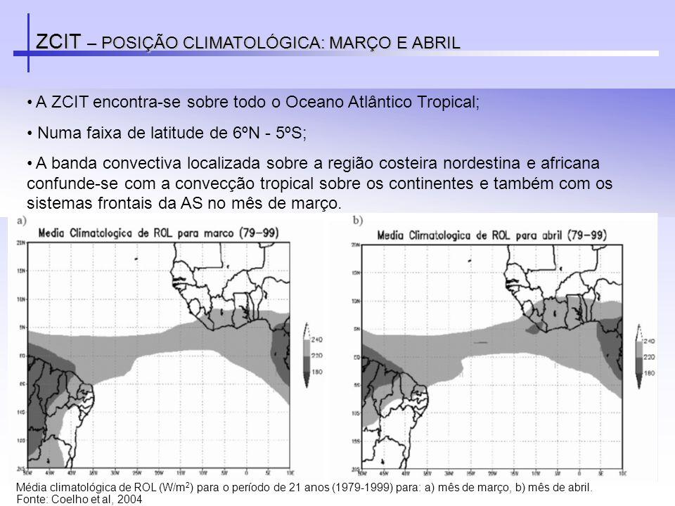 ZCIT – POSIÇÃO CLIMATOLÓGICA: MARÇO E ABRIL A ZCIT encontra-se sobre todo o Oceano Atlântico Tropical; Numa faixa de latitude de 6ºN - 5ºS; A banda co