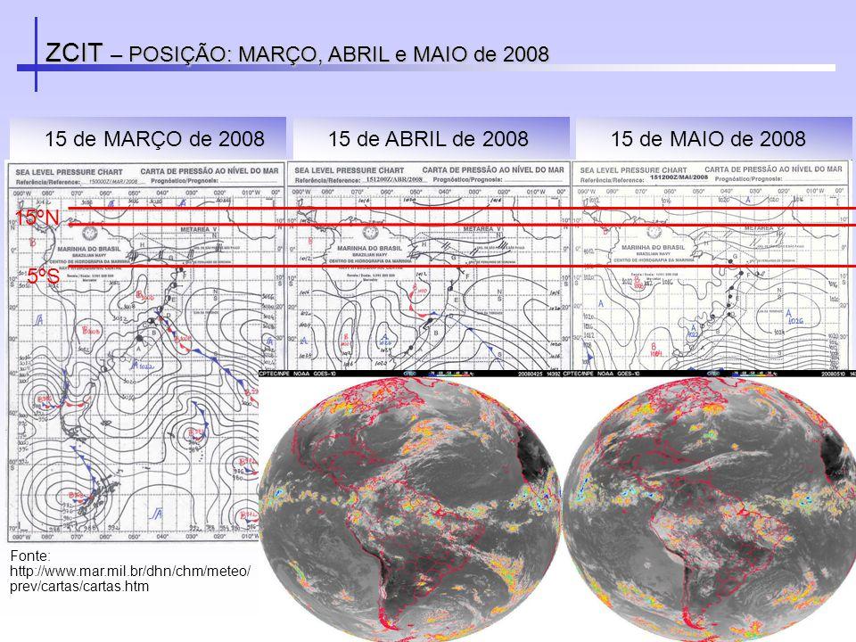ZCIT – POSIÇÃO: MARÇO, ABRIL e MAIO de 2008 Fonte: http://www.mar.mil.br/dhn/chm/meteo/ prev/cartas/cartas.htm 15 de MAIO de 200815 de MARÇO de 200815