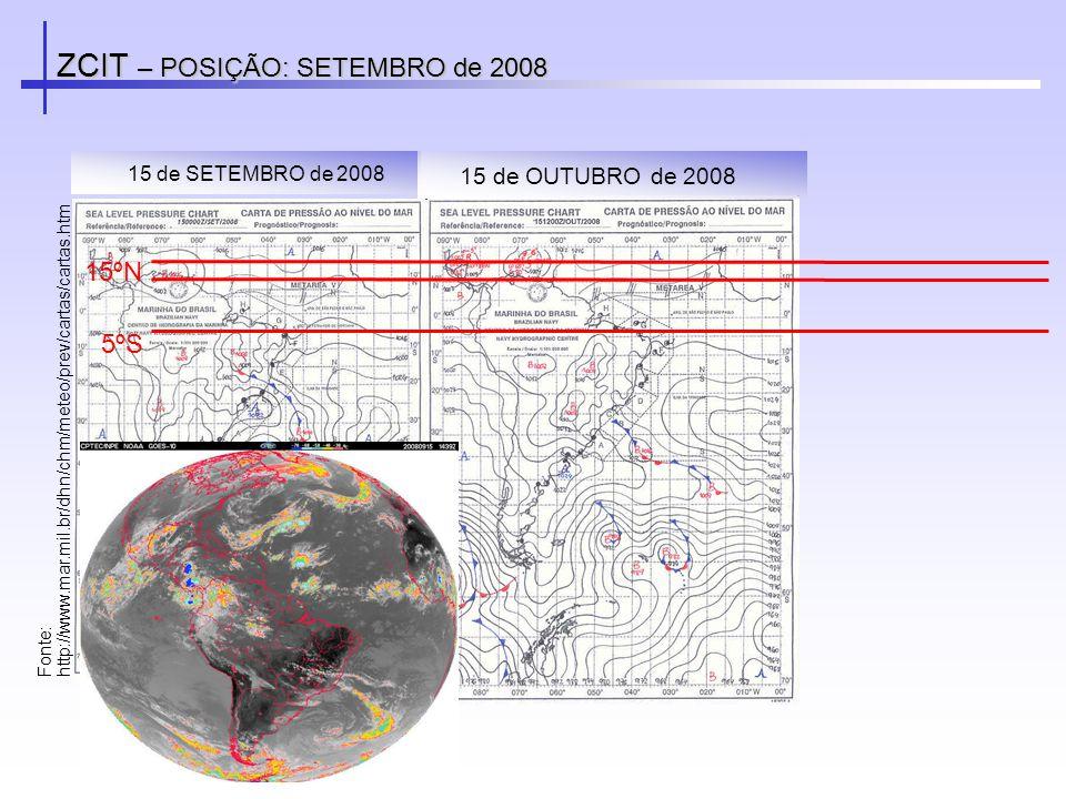 ZCIT – POSIÇÃO: SETEMBRO de 2008 Fonte: http://www.mar.mil.br/dhn/chm/meteo/prev/cartas/cartas.htm 15 de SETEMBRO de 2008 5ºS 15ºN 15 de OUTUBRO de 20