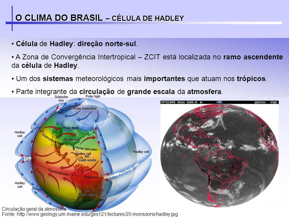 O CLIMA DO BRASIL – CÉLULA DE HADLEY Célula de Hadley: direção norte-sul. A Zona de Convergência Intertropical – ZCIT está localizada no ramo ascenden