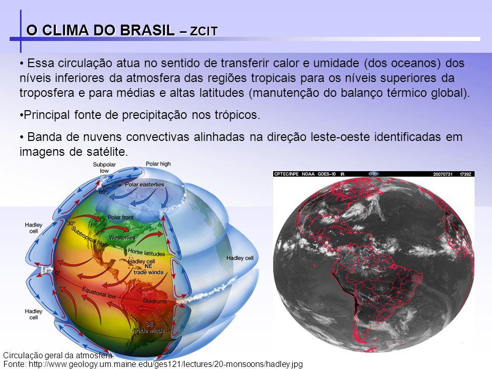 O CLIMA DO BRASIL – ZCIT Essa circulação atua no sentido de transferir calor e umidade (dos oceanos) dos níveis inferiores da atmosfera das regiões tr