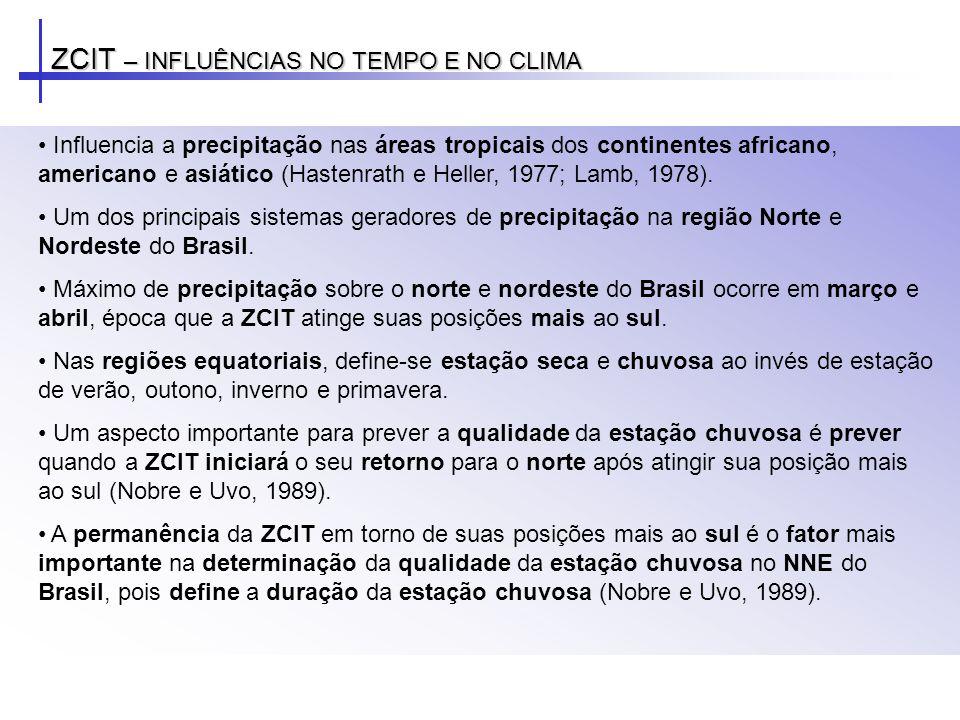 ZCIT – INFLUÊNCIAS NO TEMPO E NO CLIMA Influencia a precipitação nas áreas tropicais dos continentes africano, americano e asiático (Hastenrath e Hell