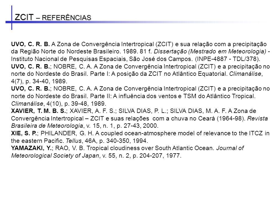 ZCIT – REFERÊNCIAS UVO, C. R. B. A Zona de Convergência Intertropical (ZCIT) e sua relação com a precipitação da Região Norte do Nordeste Brasileiro.