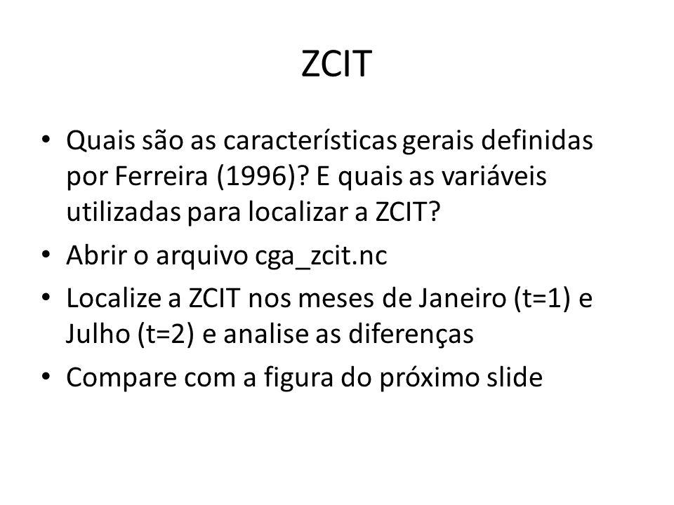 ZCIT Quais são as características gerais definidas por Ferreira (1996)? E quais as variáveis utilizadas para localizar a ZCIT? Abrir o arquivo cga_zci