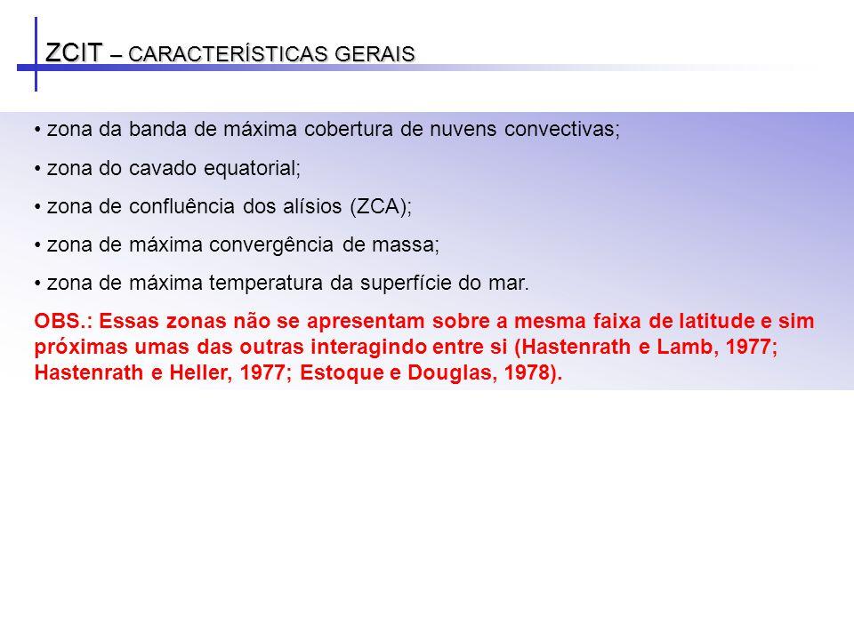 ZCIT – POSICIONAMENTO: ANOS DE EL NIÑO E LA NIÑA LA NIÑA EL NIÑO Anomalia mensal de ROL (W/m 2 ) para: c) abril de 1998 e d) abril de 1999.