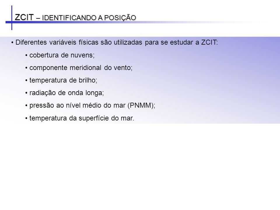 ZCIT – POSICIONAMENTO: ATLÂNTICO EQUATORIAL ZCIT migra sazonalmente: Sua posição mais ao norte (14oN) em agosto-setembro Sua posição mais ao sul (em torno de 2oS) em março-abril Importante para a determinação da estação chuvosa do norte da Região Nordeste do Brasil.