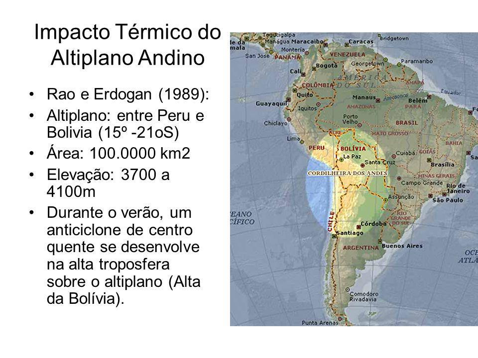 Impacto Térmico do Altiplano Andino Rao e Erdogan (1989): Altiplano: entre Peru e Bolivia (15º -21oS) Área: 100.0000 km2 Elevação: 3700 a 4100m Durant