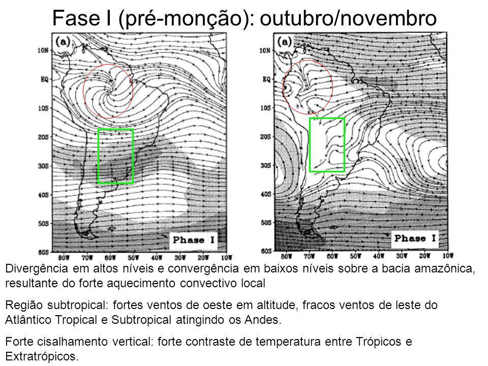 Fase I (pré-monção): outubro/novembro Divergência em altos níveis e convergência em baixos níveis sobre a bacia amazônica, resultante do forte aquecim