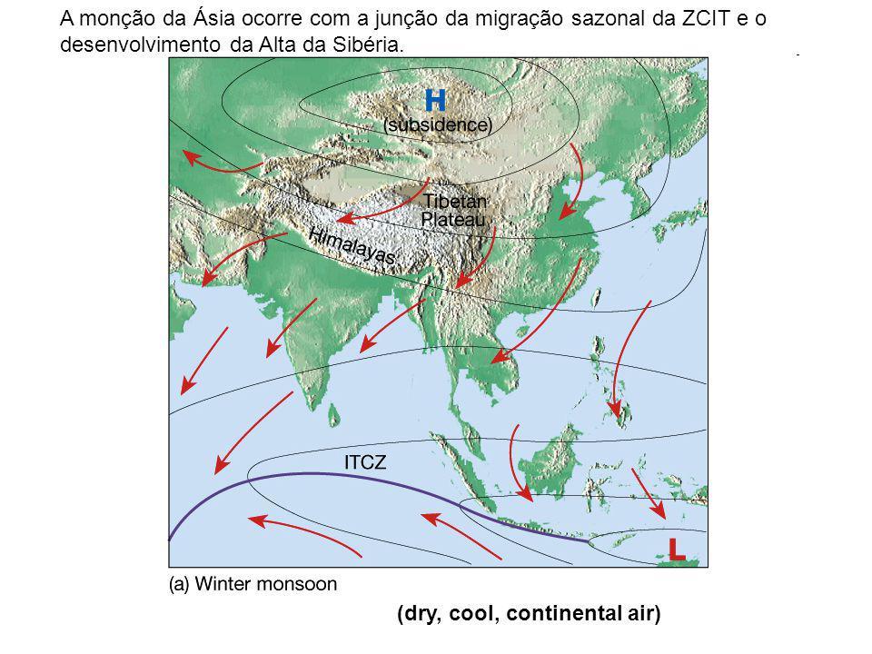 (dry, cool, continental air) A monção da Ásia ocorre com a junção da migração sazonal da ZCIT e o desenvolvimento da Alta da Sibéria.