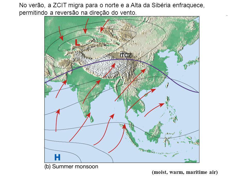 (moist, warm, maritime air) No verão, a ZCIT migra para o norte e a Alta da Sibéria enfraquece, permitindo a reversão na direção do vento.