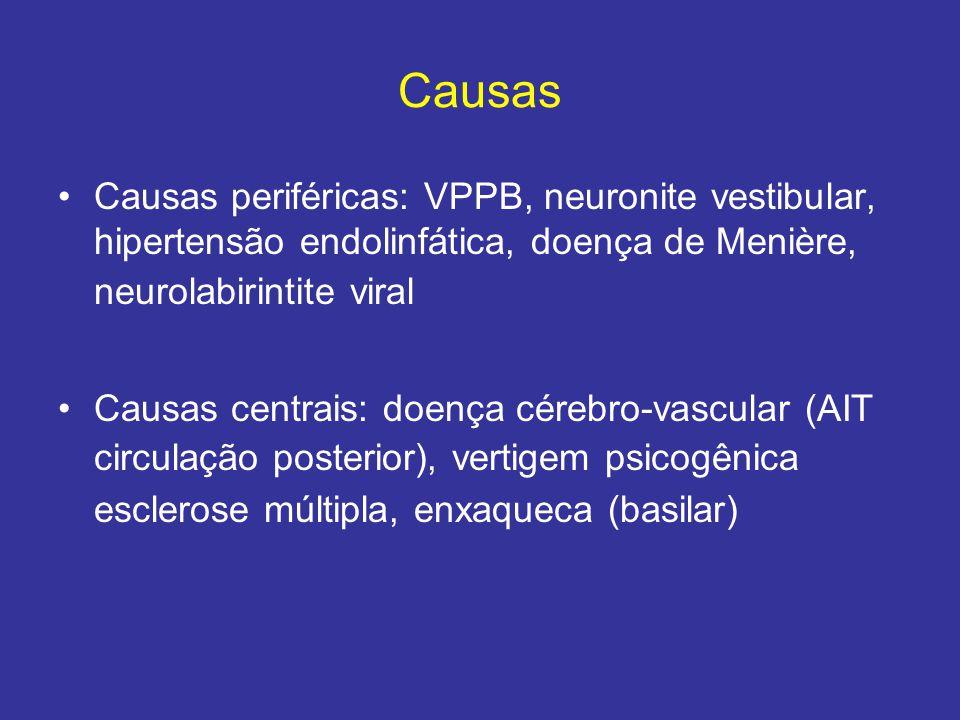 Causas Causas periféricas: VPPB, neuronite vestibular, hipertensão endolinfática, doença de Menière, neurolabirintite viral Causas centrais: doença cé