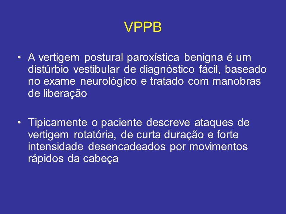 VPPB A vertigem postural paroxística benigna é um distúrbio vestibular de diagnóstico fácil, baseado no exame neurológico e tratado com manobras de li