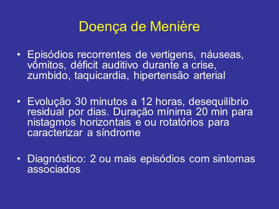Doença de Menière Episódios recorrentes de vertigens, náuseas, vômitos, déficit auditivo durante a crise, zumbido, taquicardia, hipertensão arterial E
