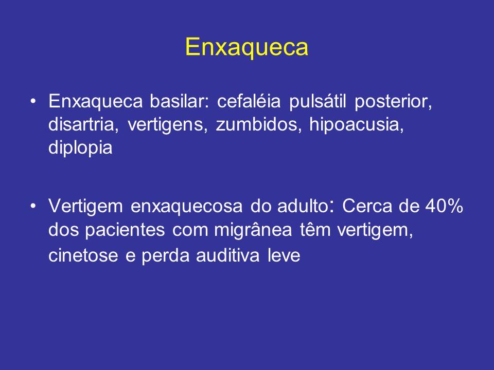 Enxaqueca Enxaqueca basilar: cefaléia pulsátil posterior, disartria, vertigens, zumbidos, hipoacusia, diplopia Vertigem enxaquecosa do adulto : Cerca