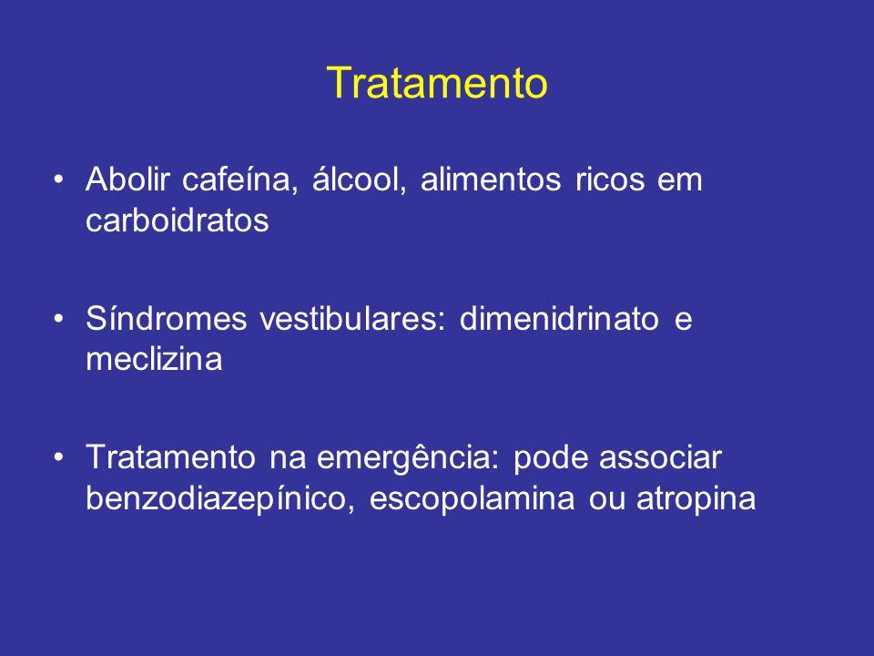Tratamento Abolir cafeína, álcool, alimentos ricos em carboidratos Síndromes vestibulares: dimenidrinato e meclizina Tratamento na emergência: pode as
