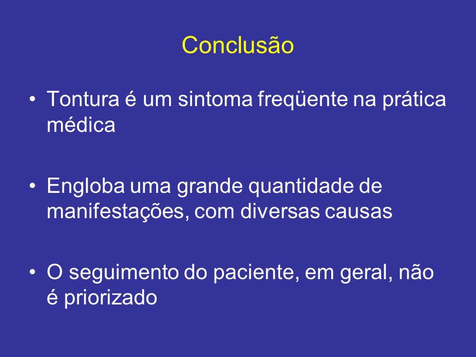 Conclusão Tontura é um sintoma freqüente na prática médica Engloba uma grande quantidade de manifestações, com diversas causas O seguimento do pacient