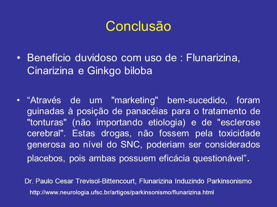 Conclusão Benefício duvidoso com uso de : Flunarizina, Cinarizina e Ginkgo biloba Através de um