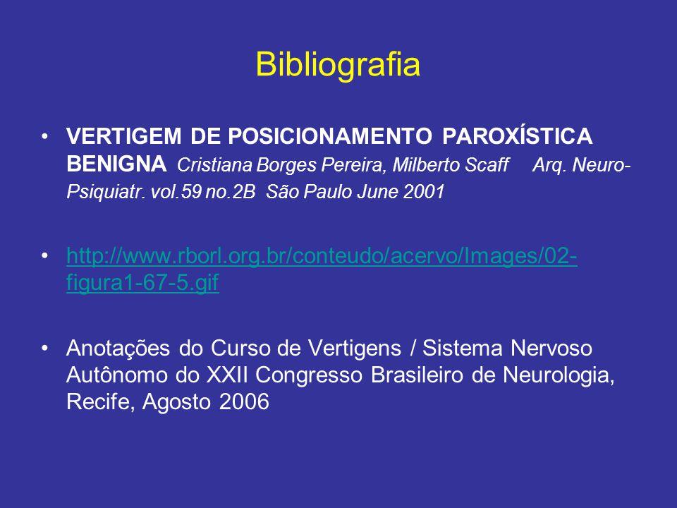 Bibliografia VERTIGEM DE POSICIONAMENTO PAROXÍSTICA BENIGNA Cristiana Borges Pereira, Milberto Scaff Arq. Neuro- Psiquiatr. vol.59 no.2B São Paulo Jun