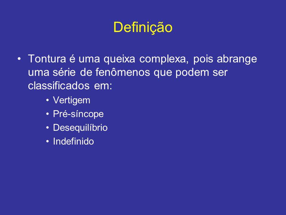 Definição Tontura é uma queixa complexa, pois abrange uma série de fenômenos que podem ser classificados em: Vertigem Pré-síncope Desequilíbrio Indefi