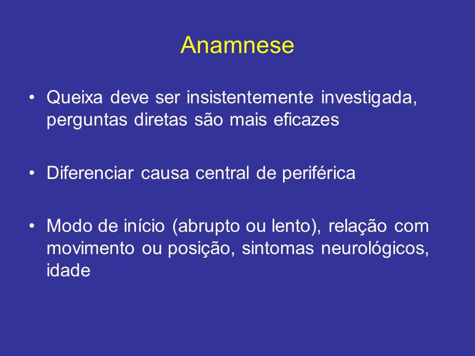 Anamnese Queixa deve ser insistentemente investigada, perguntas diretas são mais eficazes Diferenciar causa central de periférica Modo de início (abru