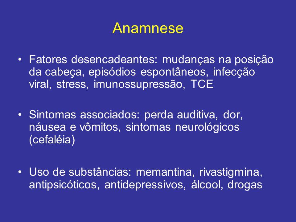 Anamnese Fatores desencadeantes: mudanças na posição da cabeça, episódios espontâneos, infecção viral, stress, imunossupressão, TCE Sintomas associado