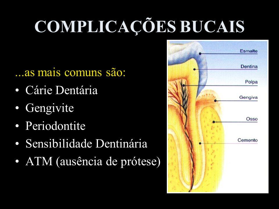 COMPLICAÇÕES BUCAIS...as mais comuns são: Cárie Dentária Gengivite Periodontite Sensibilidade Dentinária ATM (ausência de prótese)