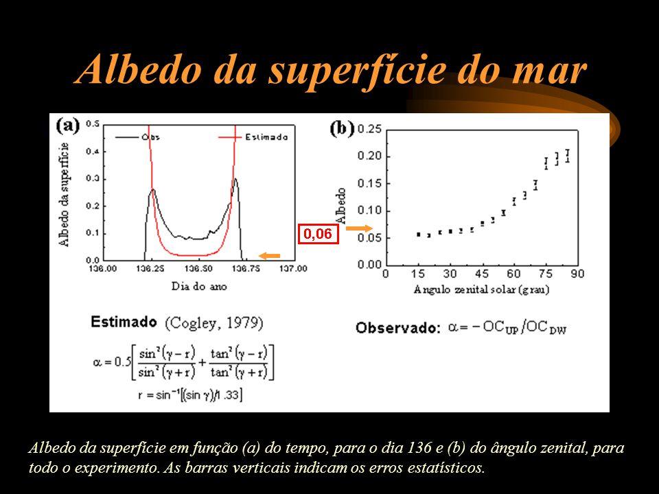 Albedo da superfície do mar Albedo da superfície em função (a) do tempo, para o dia 136 e (b) do ângulo zenital, para todo o experimento. As barras ve