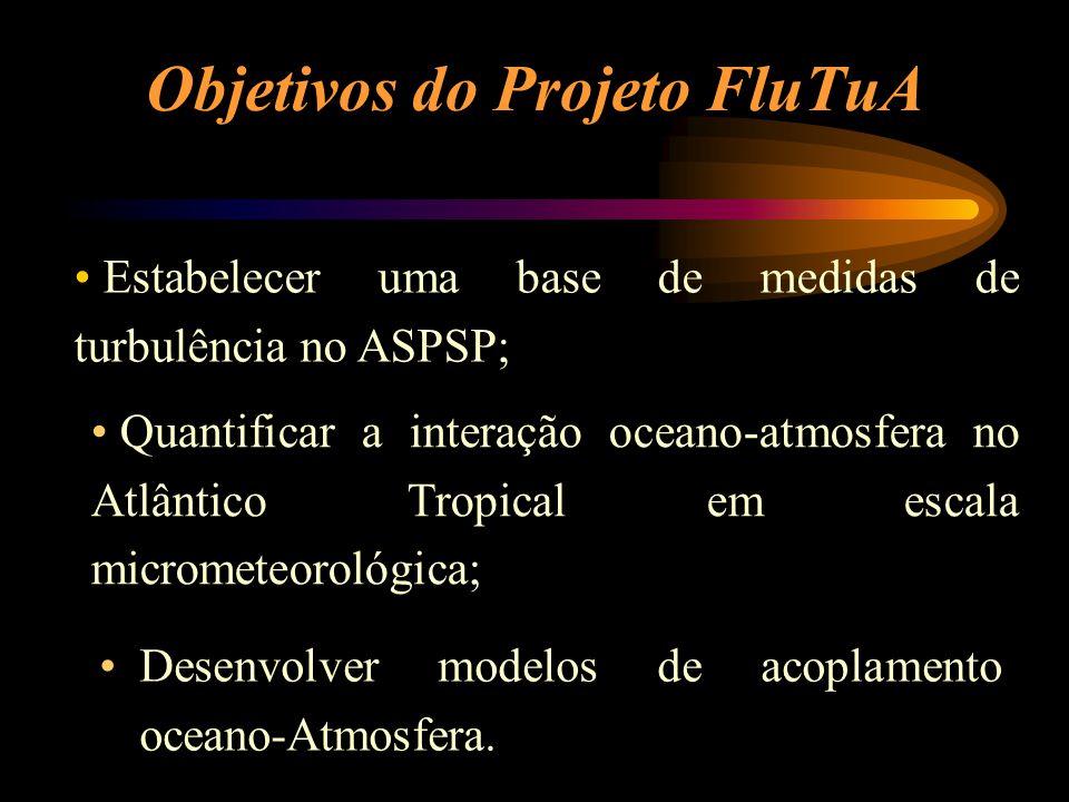 Objetivos do Projeto FluTuA Desenvolver modelos de acoplamento oceano-Atmosfera. Estabelecer uma base de medidas de turbulência no ASPSP; Quantificar