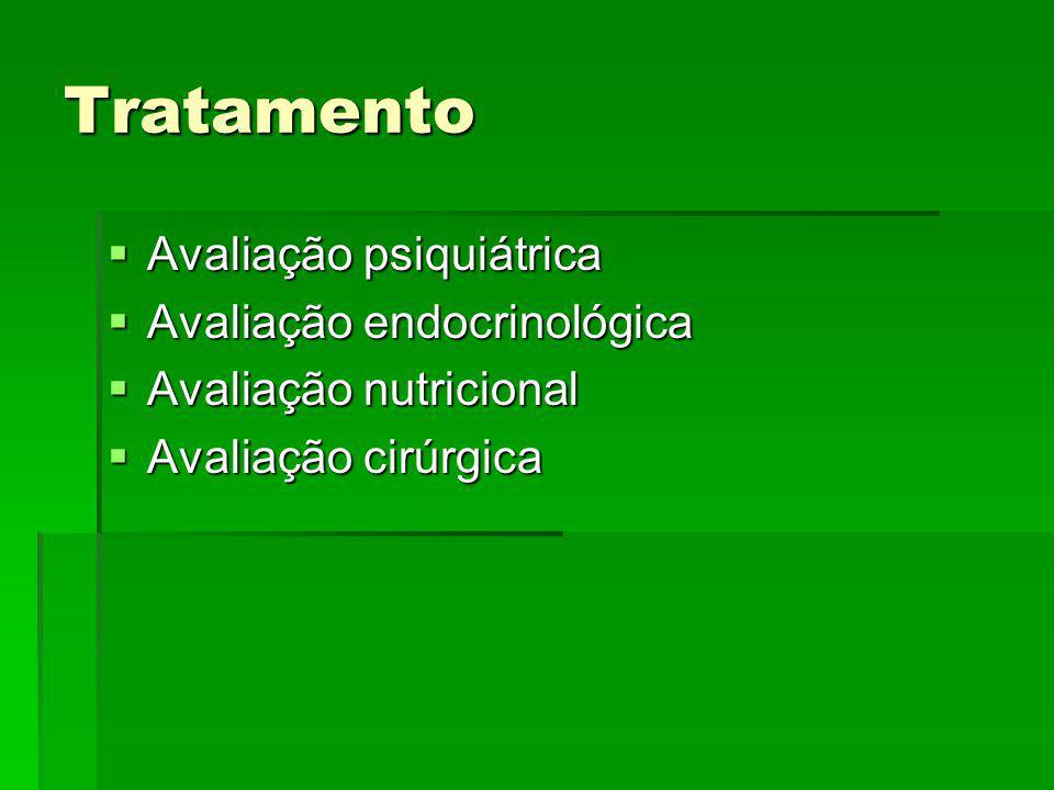 Tratamento Avaliação psiquiátrica Avaliação psiquiátrica Avaliação endocrinológica Avaliação endocrinológica Avaliação nutricional Avaliação nutricion